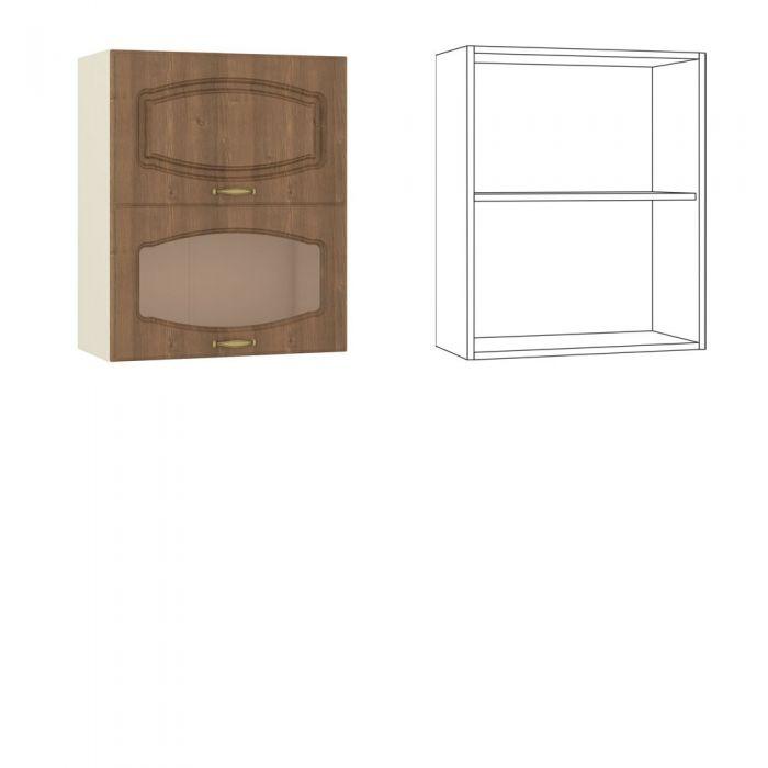 Сильвия Шкаф навесной 60 гориз. 1 дв.+ 1 витрина