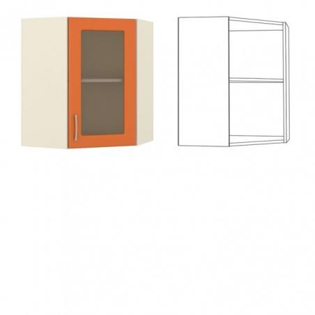 Сандра Шкаф навесной угловой с витриной - 18471
