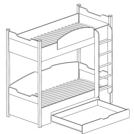 Мадрид 770 Кровать двухъярусная с ящиком - 18222