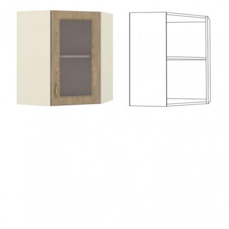 Эмили Шкаф навесной угловой с витриной - 18547