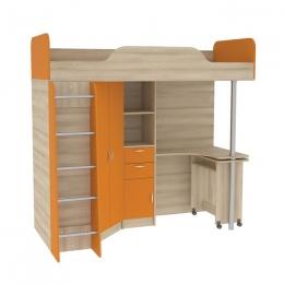 Ника 427 Т Кровать-чердак со столом Бук песочный/Оранжевый