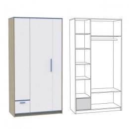 Гольф Шкаф 200, Голубой Металл/Белый матовый