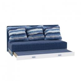 Гольф Диван-кровать с выкатным с/м, Голубой Металл/Белый матовый