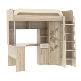 Мультиплекс кровать-чердак со столом Дуб сонома