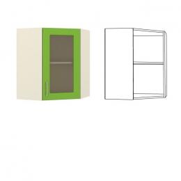 Лора Шкаф навесной угловой с витриной