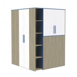 Гольф Шкаф-гардероб, Голубой Металл/Белый матовый