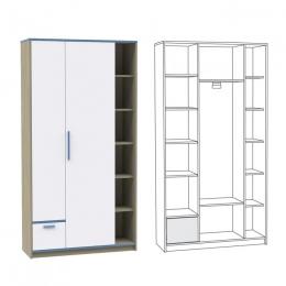 Гольф Шкаф 210, Голубой Металл/Белый матовый